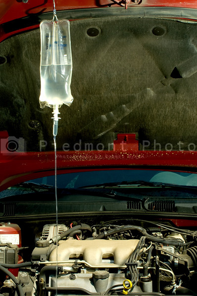 An IV bag hooked up to a sick car.