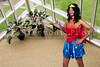 An African American woman dressed in a Halloween costume