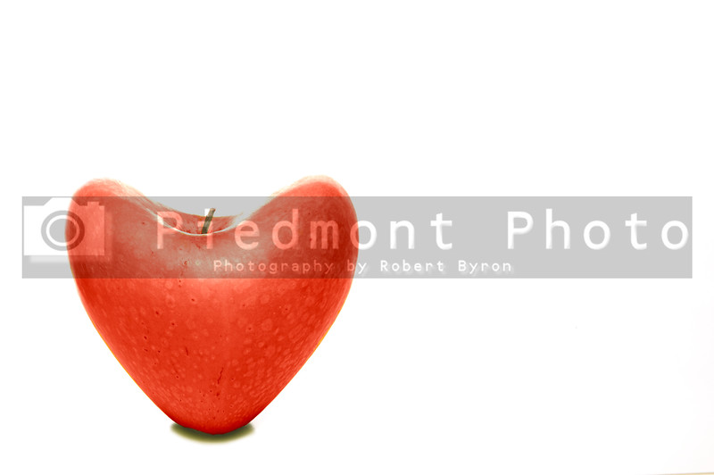 A ready to eat heart shaped apple.