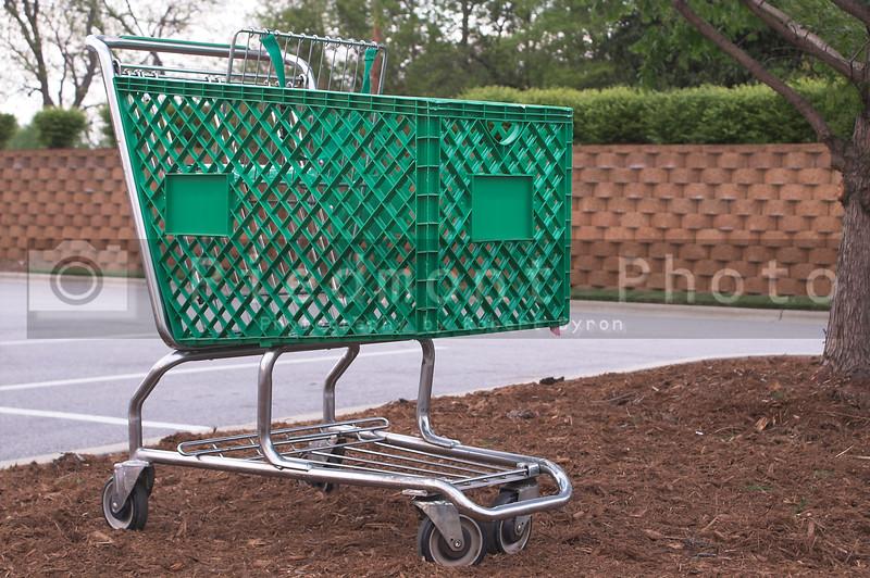 A shopping cart at a retail store.
