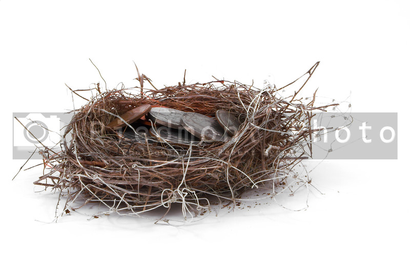 A bird's nest filled with various coins.