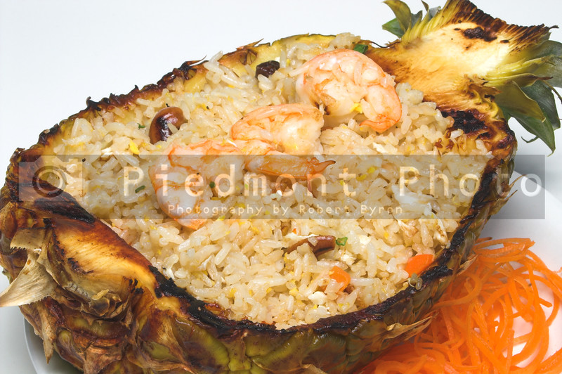 Japanese pineapple shrimp fried rice in a carved out pineapple.