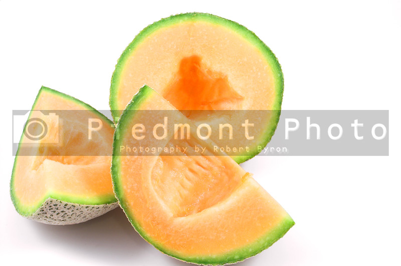 Delicious and freshly sliced natural organic cantaloupe.
