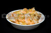 A large bowl of delicious gourmet garlic shrimp..