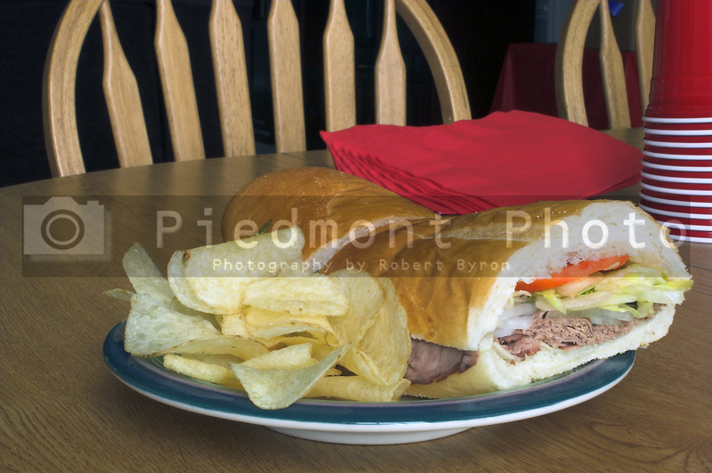 A delicious and healthy deli style submarine sandwich.
