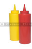 Pair of restaurant style mustard and ketchup bottles.