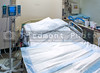 A medical patient's bed in a hospital.
