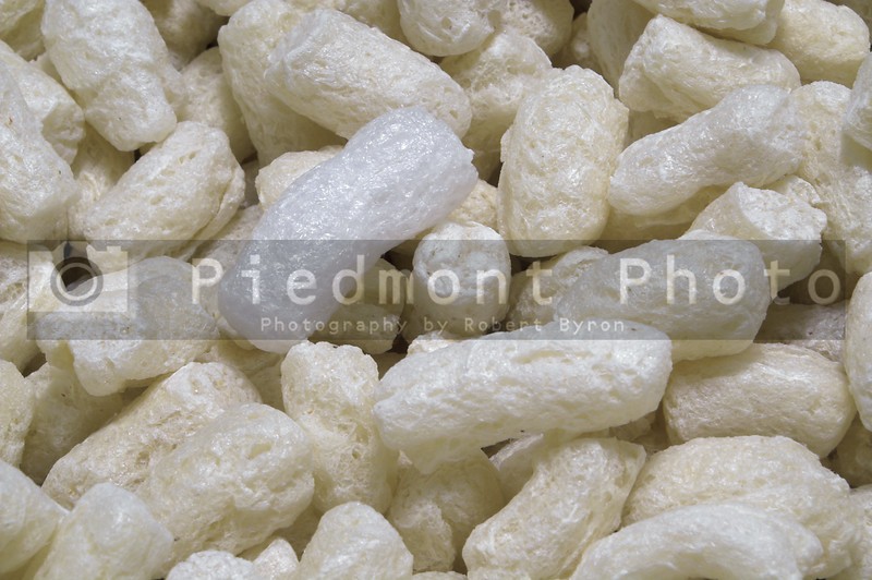Styrofoam peanuts used as packing material for shipping.