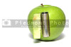 An apple powered by an electric battery.