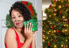 A beautiful young black woman opening a Christmas or birthday present