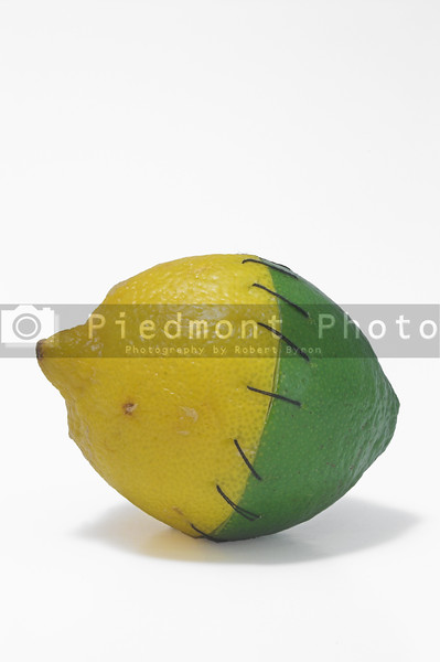 A lemon and a lime stitched together.