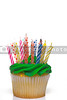 A cupcake covered in colorful birthday candles.