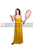 A beautiful woman in an evening gown playing the sports game of tennis