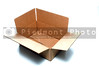 An empty corrugated pasteboard or cardboard box.