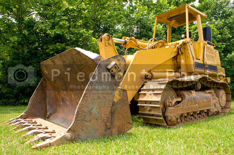 A large construction bulldozer ready for work.