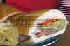 A delicious and healthy deli style submarine sandwich.