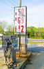 Old gas pumps with old gas prices.