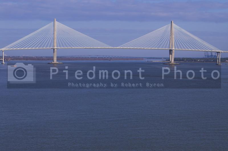 A large suspension bridge in Charleston, South Carolina.