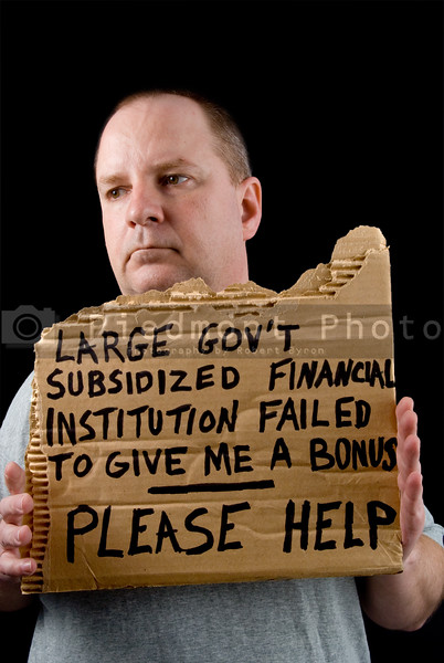 A banker begging during an economic crisis.