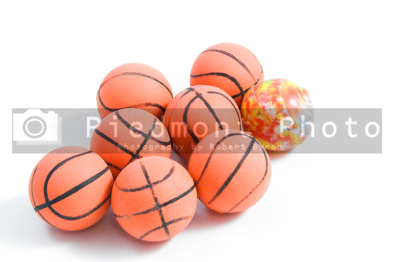 Bouncy Balls shaped like basketballs except for that one.