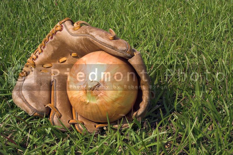 An onion resting in a baseball glove.