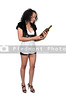 A beautiful African American woman holding wine bottle