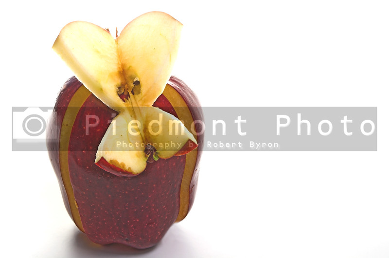 A butterfly made out of an apple.