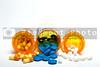 Prescription pills in a plastic medicine bottle.