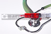 A professional medical stethoscope and a hypodermic syringe.