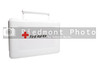 A white first aid kit with the universal red cross symbol.