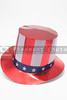 A stars and stripes patriotic top hat.