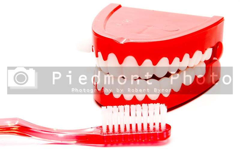 A toothbrush and a set of chattering teeth in a glass.
