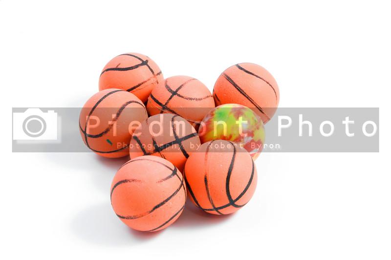 Bouncy Balls shaped like basketballs.