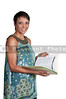 A beautiful young woman holding a manila file folder