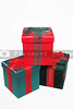 A set of colorful seasonal Christmas present gift boxes.
