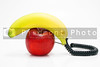 A telephone made from an apple and a banana.