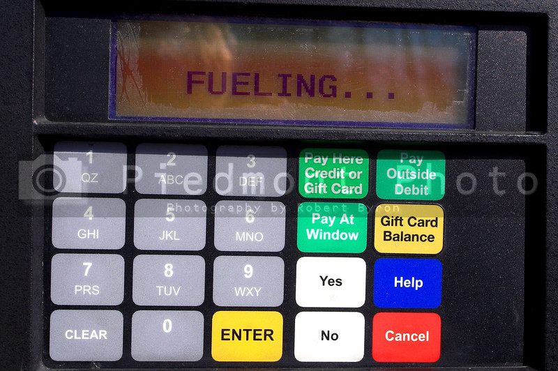 The display on a gas pump at a service station.