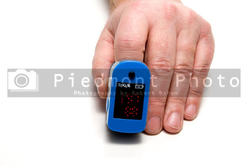 A pulse oximeter used to measure pulse rate and oxygen levels.