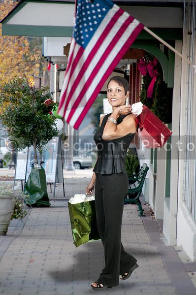 A beautiful woman on a shopping spree