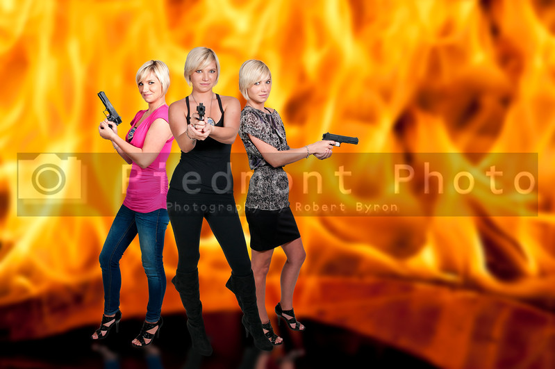 Beautiful police detectives women on the job with guns