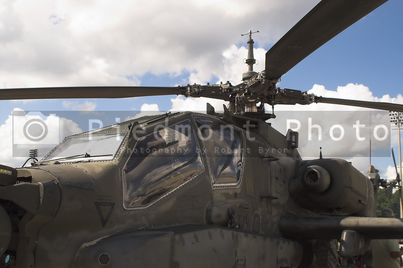 A close up of the main rotor of a helicopter.