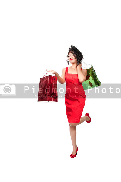 A young beautiful black African American woman on a shopping spree
