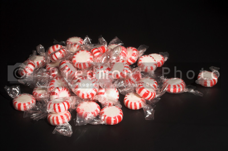 A pile of Christmas holiday star mints.