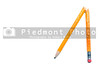 A broken pencil on a white background.