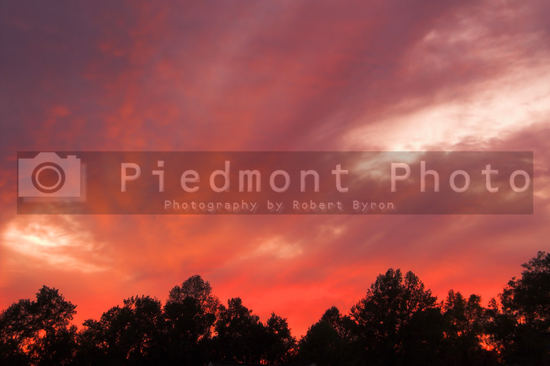A very colorful sunset or sunrise over trees.