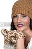 Beautiful woman wearing a knitted winter cap anf gloves