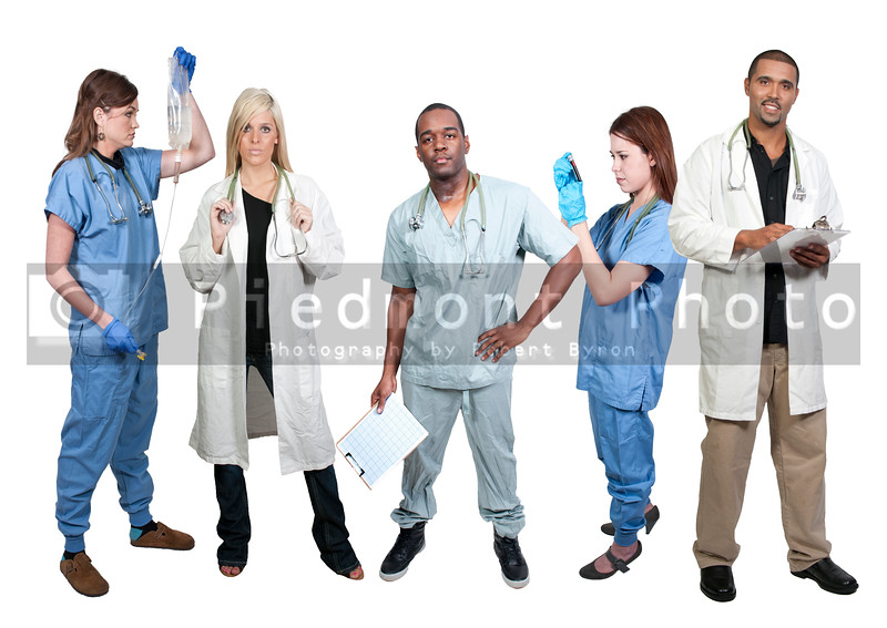 Group of medical doctors with various specialties