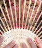 Beautiful woman holding a traditional oriental fan