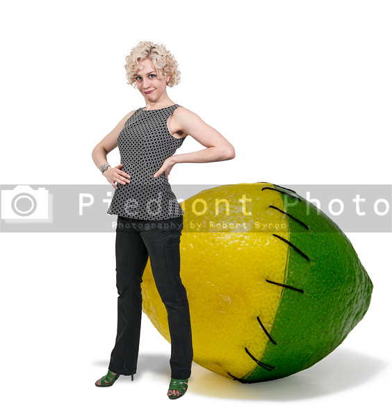 Woman and Stitched Lemon and Lime