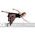 A beautiful young actress dancer flying through the sky or falling through the air